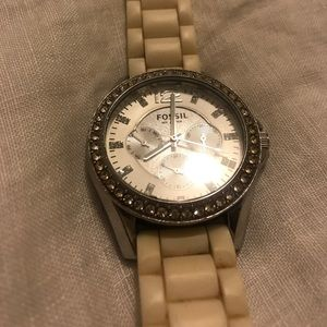 White and silver FOSSIL watch